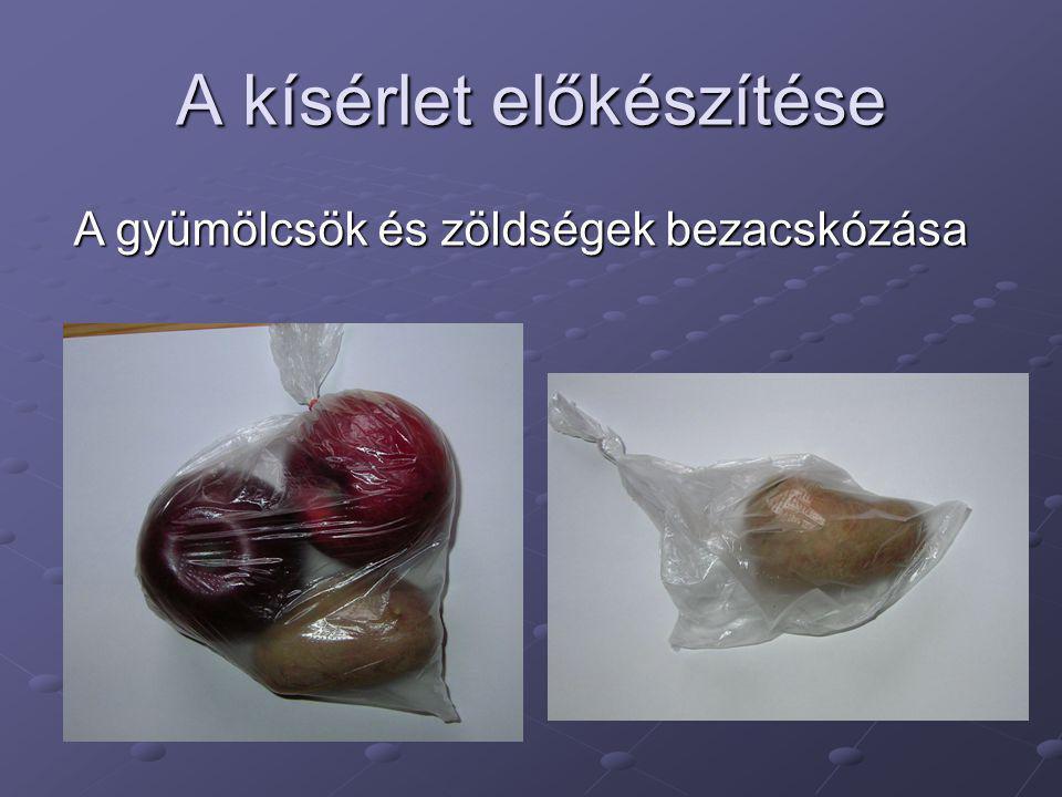 A kísérlet előkészítése A gyümölcsök és zöldségek bezacskózása