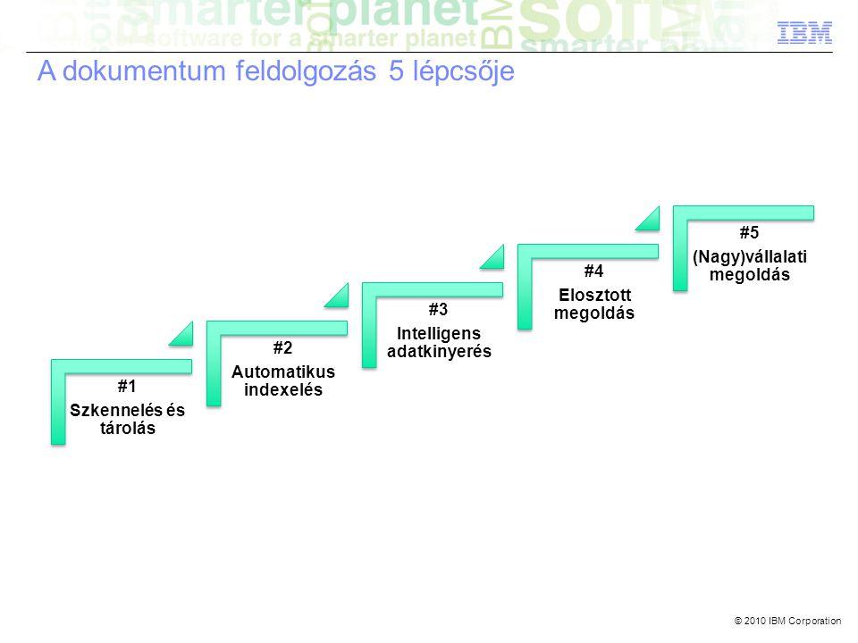© 2010 IBM Corporation #1 Szkennelés és tárolás #2 Automatikus indexelés #3 Intelligens adatkinyerés #4 Elosztott megoldás #5 (Nagy)vállalati megoldás A dokumentum feldolgozás 5 lépcsője