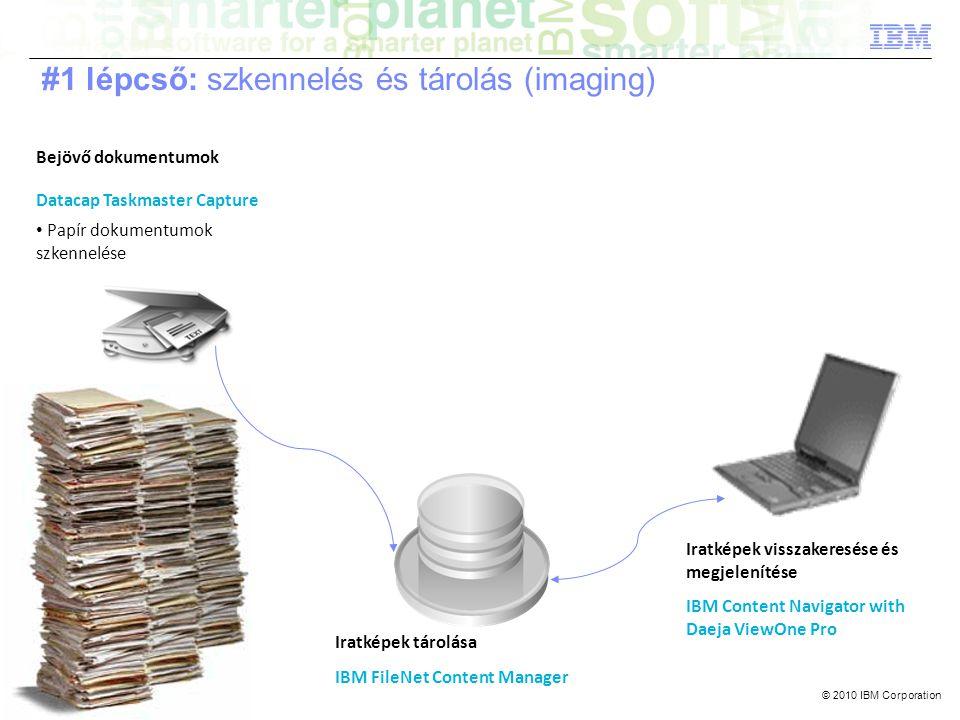 © 2010 IBM Corporation Bejövő dokumentumok Datacap Taskmaster Capture • Papír dokumentumok szkennelése Iratképek tárolása IBM FileNet Content Manager Iratképek visszakeresése és megjelenítése IBM Content Navigator with Daeja ViewOne Pro #1 lépcső: szkennelés és tárolás (imaging)