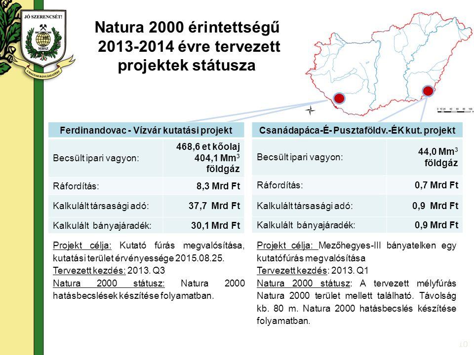 10 Natura 2000 érintettségű 2013-2014 évre tervezett projektek státusza Projekt célja: Kutató fúrás megvalósítása, kutatási terület érvényessége 2015.08.25.