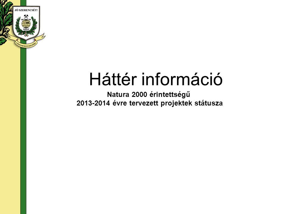 Háttér információ Natura 2000 érintettségű 2013-2014 évre tervezett projektek státusza
