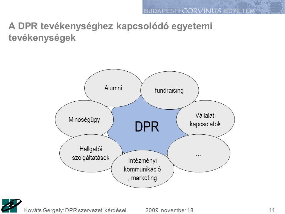 2009. november 18.Kováts Gergely: DPR szervezeti kérdései11.