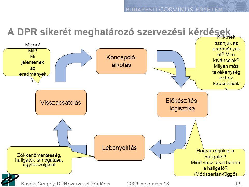 2009. november 18.Kováts Gergely: DPR szervezeti kérdései13.