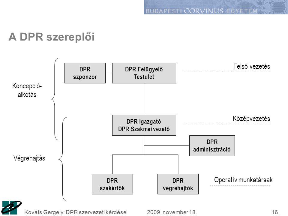 2009. november 18.Kováts Gergely: DPR szervezeti kérdései16.