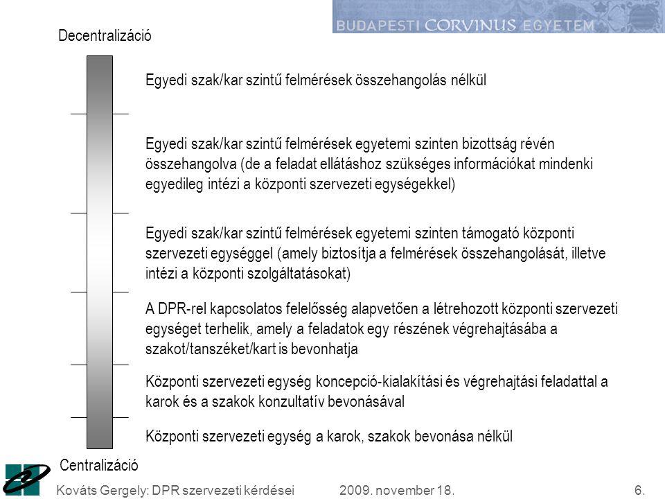 2009. november 18.Kováts Gergely: DPR szervezeti kérdései17. Köszönöm a figyelmet!