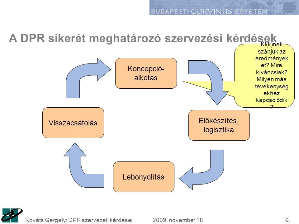 2009. november 18.Kováts Gergely: DPR szervezeti kérdései9.