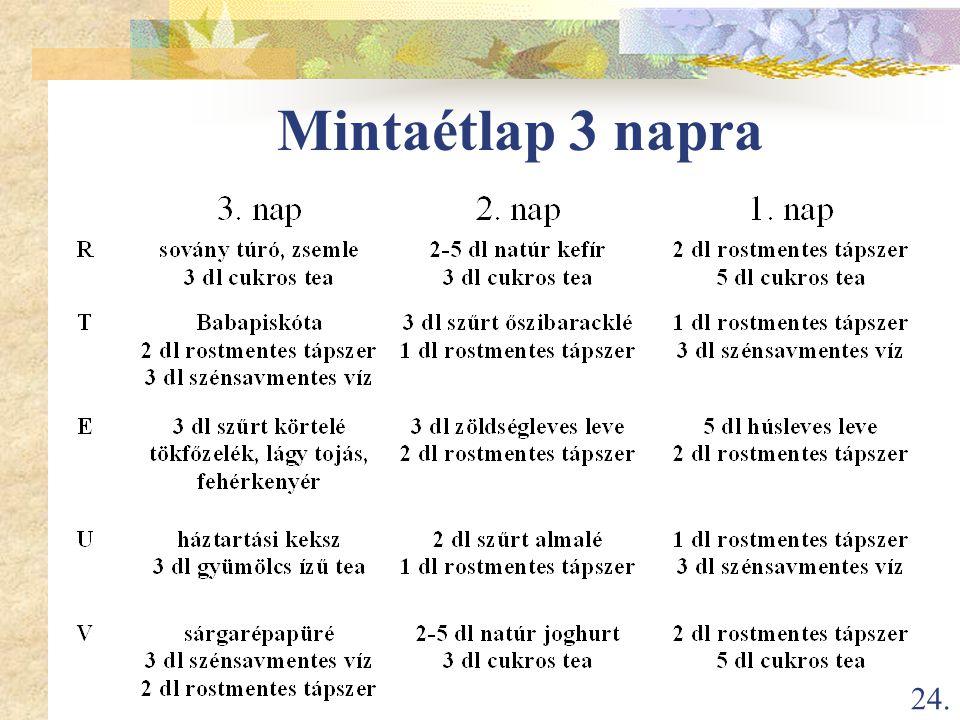 24. Mintaétlap 3 napra