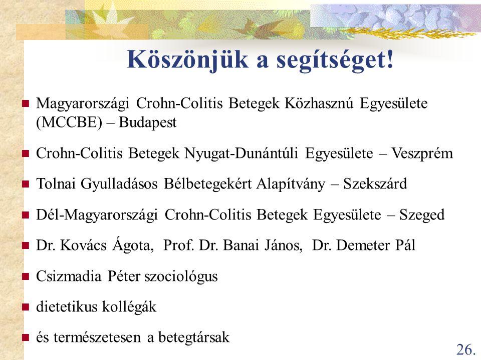 26. Köszönjük a segítséget!  Magyarországi Crohn-Colitis Betegek Közhasznú Egyesülete (MCCBE) – Budapest  Crohn-Colitis Betegek Nyugat-Dunántúli Egy