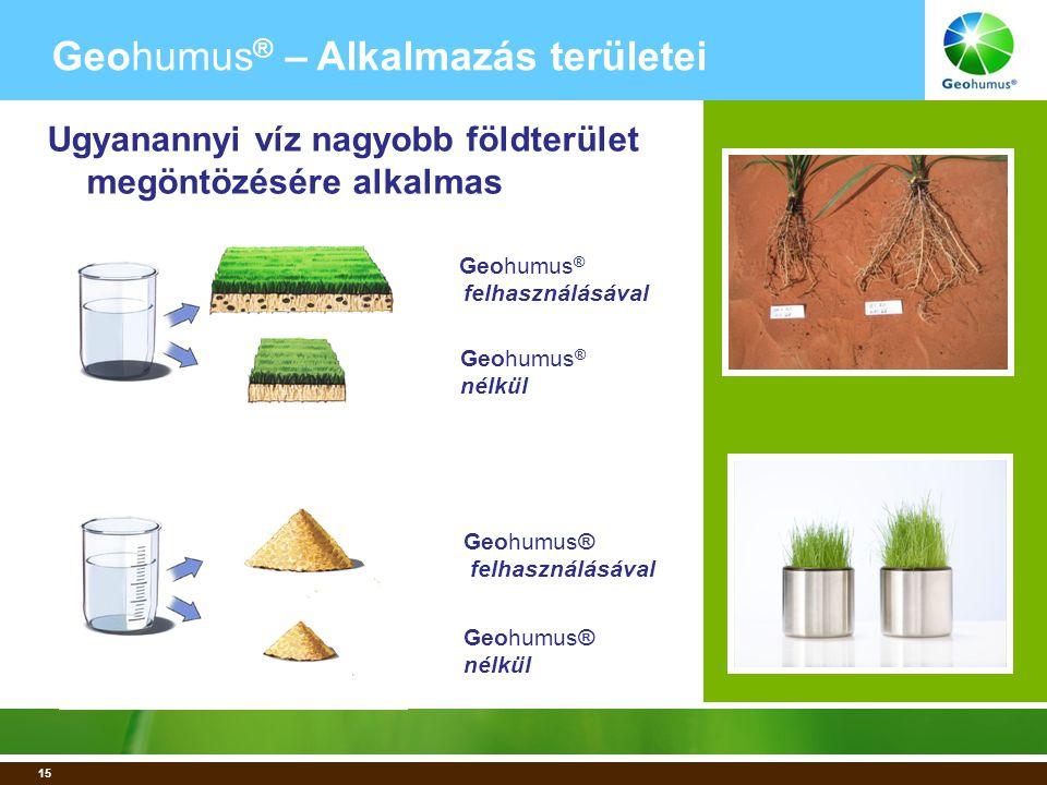 15 Geohumus ® felhasználásával Geohumus ® nélkül Geohumus® felhasználásával Geohumus® nélkül Geohumus ® – Alkalmazás területei Ugyanannyi víz nagyobb földterület megöntözésére alkalmas