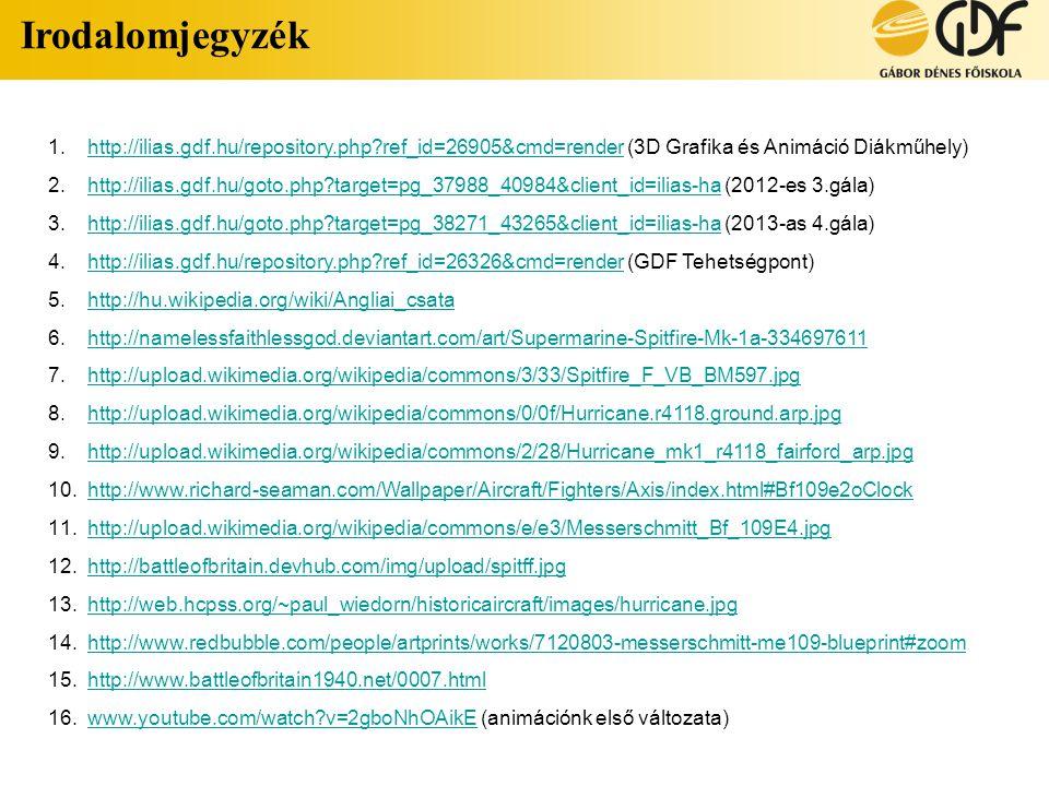 Irodalomjegyzék 1.http://ilias.gdf.hu/repository.php?ref_id=26905&cmd=render (3D Grafika és Animáció Diákműhely)http://ilias.gdf.hu/repository.php?ref