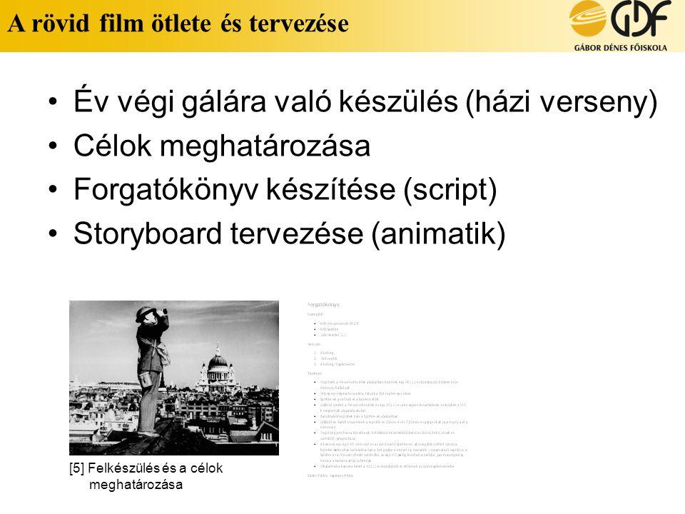 A rövid film ötlete és tervezése •Év végi gálára való készülés (házi verseny) •Célok meghatározása •Forgatókönyv készítése (script) •Storyboard tervez