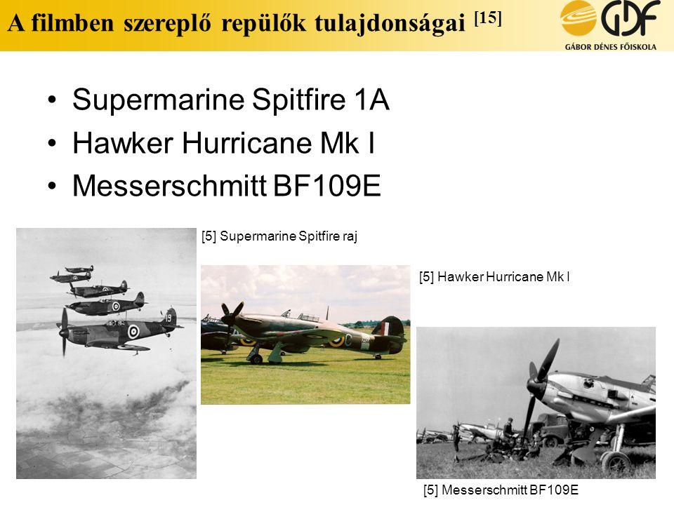 A filmben szereplő repülők tulajdonságai [15] •Supermarine Spitfire 1A •Hawker Hurricane Mk I •Messerschmitt BF109E [5] Supermarine Spitfire raj [5] H