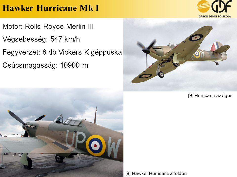 Hawker Hurricane Mk I Motor: Rolls-Royce Merlin III Végsebesség: 547 km/h Fegyverzet: 8 db Vickers K géppuska Csúcsmagasság: 10900 m [8] Hawker Hurric