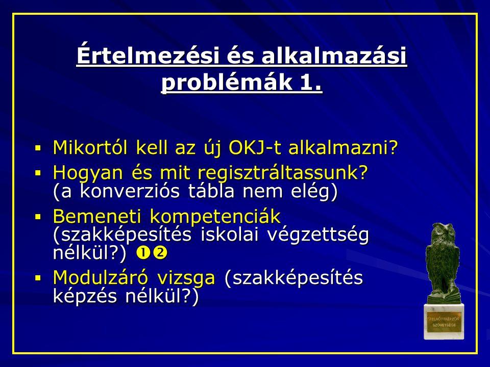 Értelmezési és alkalmazási problémák 1.  Mikortól kell az új OKJ-t alkalmazni?  Hogyan és mit regisztráltassunk? (a konverziós tábla nem elég)  Bem