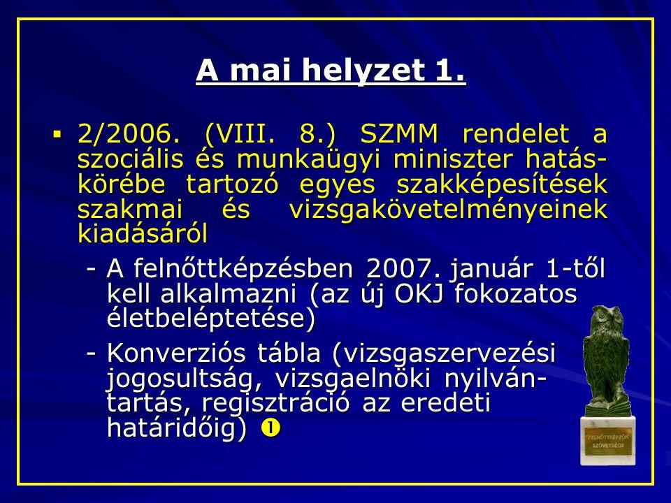 A mai helyzet 1.  2/2006. (VIII. 8.) SZMM rendelet a szociális és munkaügyi miniszter hatás- körébe tartozó egyes szakképesítések szakmai és vizsgakö