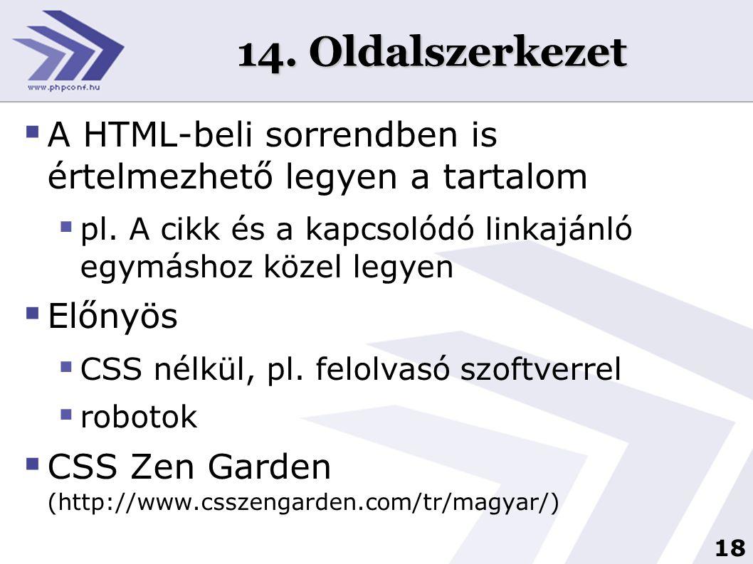 18 14. Oldalszerkezet  A HTML-beli sorrendben is értelmezhető legyen a tartalom  pl. A cikk és a kapcsolódó linkajánló egymáshoz közel legyen  Előn
