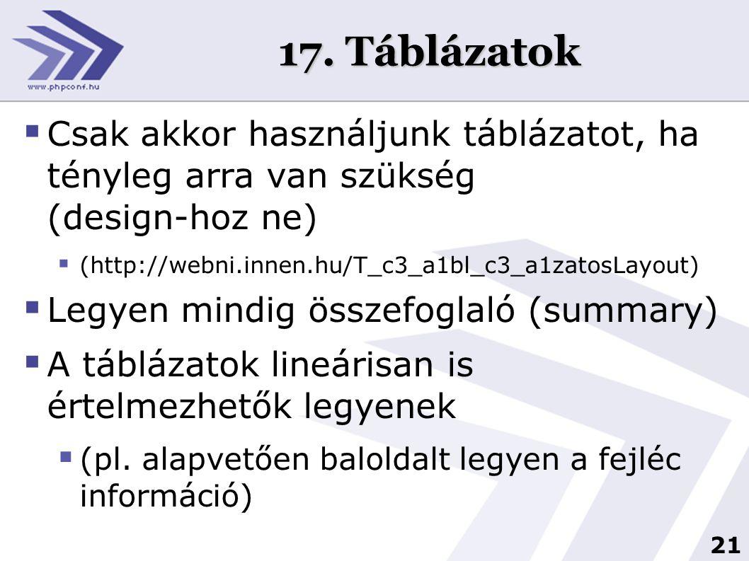 21 17. Táblázatok  Csak akkor használjunk táblázatot, ha tényleg arra van szükség (design-hoz ne)  (http://webni.innen.hu/T_c3_a1bl_c3_a1zatosLayout