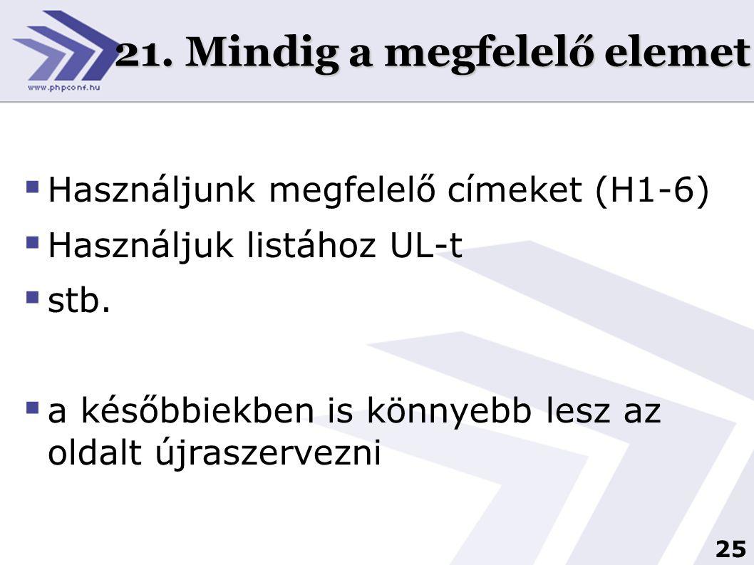 25 21. Mindig a megfelelő elemet  Használjunk megfelelő címeket (H1-6)  Használjuk listához UL-t  stb.  a későbbiekben is könnyebb lesz az oldalt