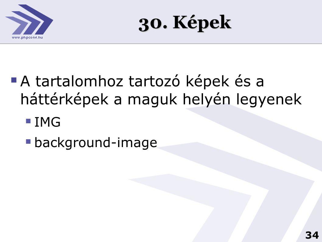 34 30. Képek  A tartalomhoz tartozó képek és a háttérképek a maguk helyén legyenek  IMG  background-image