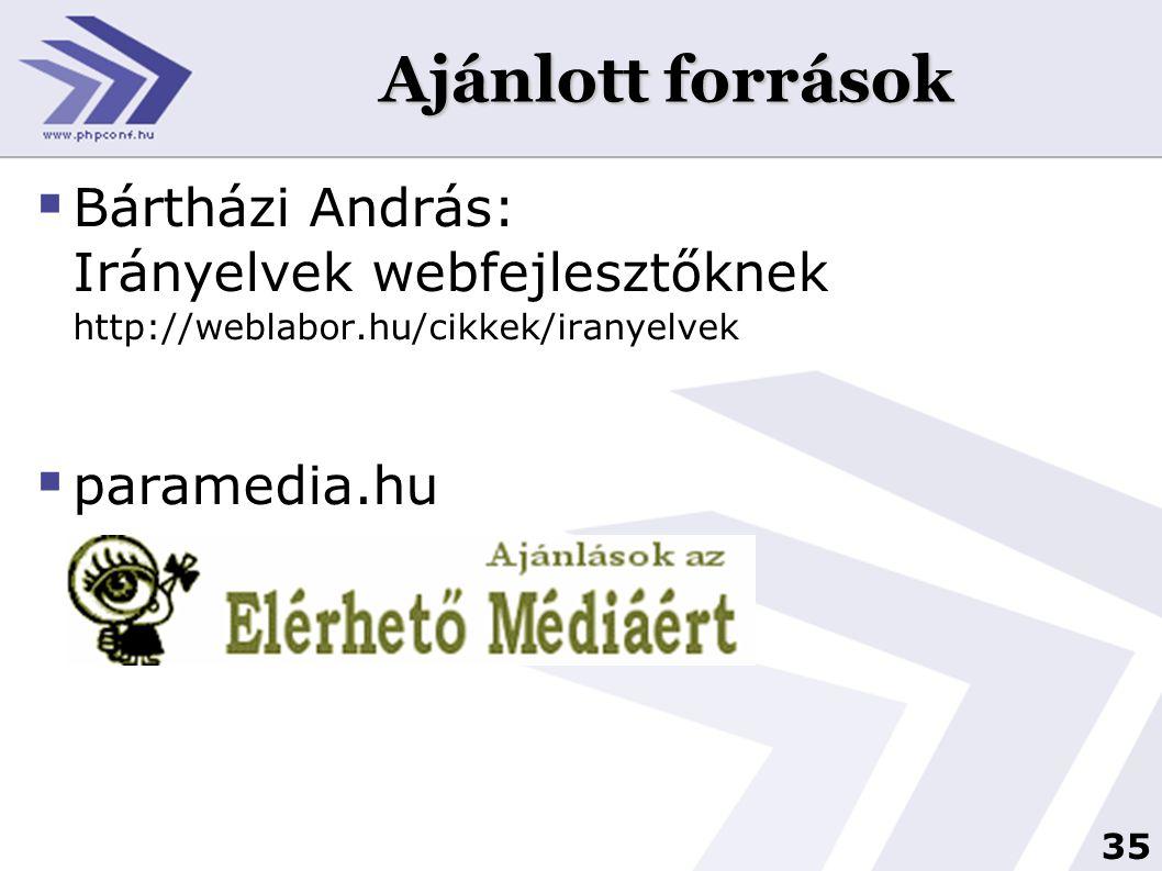 35 Ajánlott források  Bártházi András: Irányelvek webfejlesztőknek http://weblabor.hu/cikkek/iranyelvek  paramedia.hu