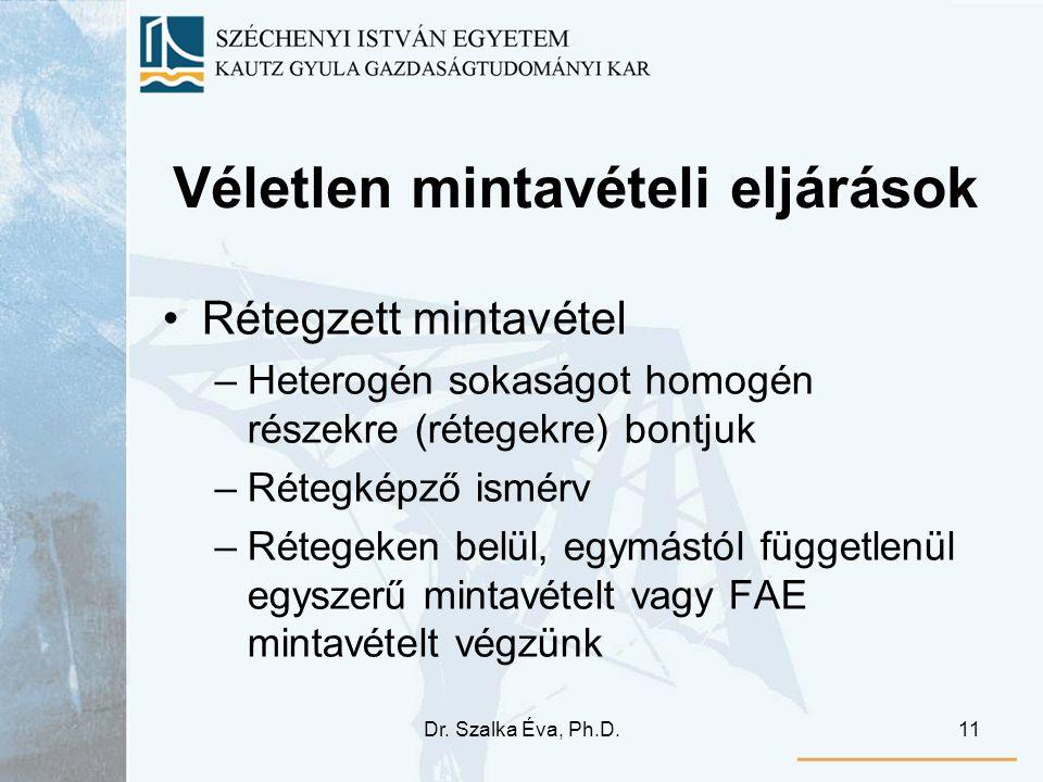 Dr. Szalka Éva, Ph.D.11 Véletlen mintavételi eljárások •Rétegzett mintavétel –Heterogén sokaságot homogén részekre (rétegekre) bontjuk –Rétegképző ism