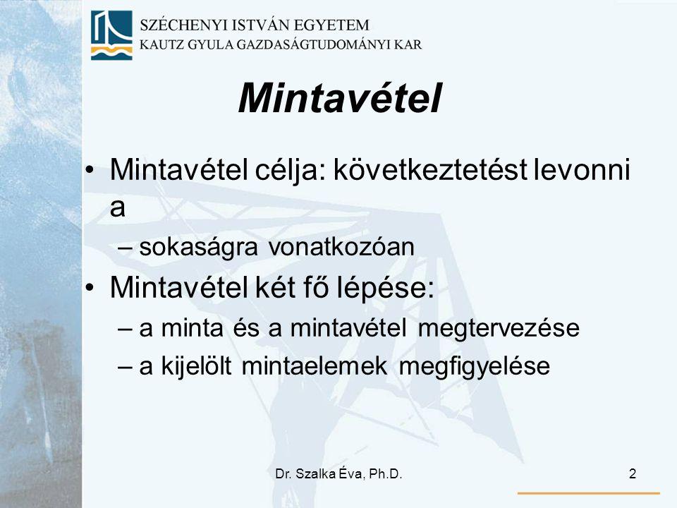 Dr. Szalka Éva, Ph.D.2 Mintavétel •Mintavétel célja: következtetést levonni a –sokaságra vonatkozóan •Mintavétel két fő lépése: –a minta és a mintavét