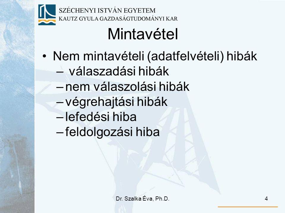 Dr. Szalka Éva, Ph.D.4 Mintavétel •Nem mintavételi (adatfelvételi) hibák – válaszadási hibák –nem válaszolási hibák –végrehajtási hibák –lefedési hiba