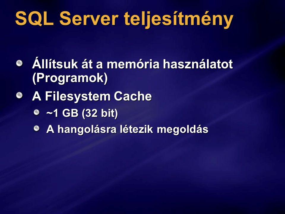 SQL Server teljesítmény Állítsuk át a memória használatot (Programok) A Filesystem Cache ~1 GB (32 bit) A hangolásra létezik megoldás