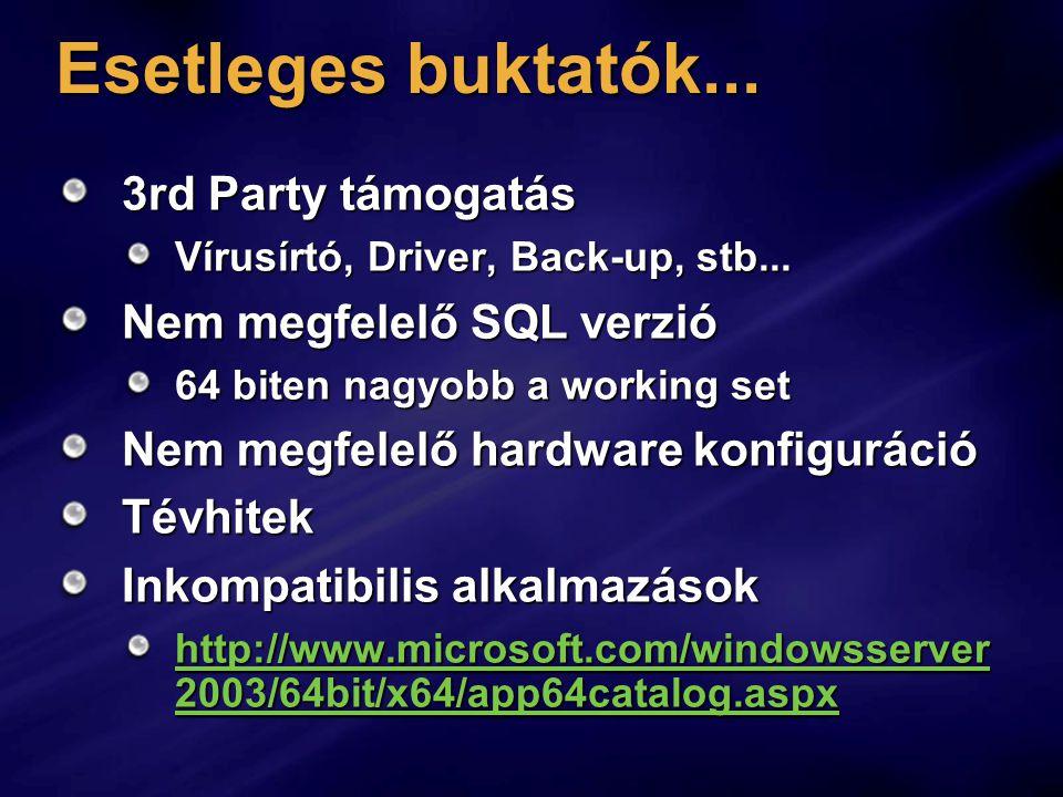 Esetleges buktatók... 3rd Party támogatás Vírusírtó, Driver, Back-up, stb...