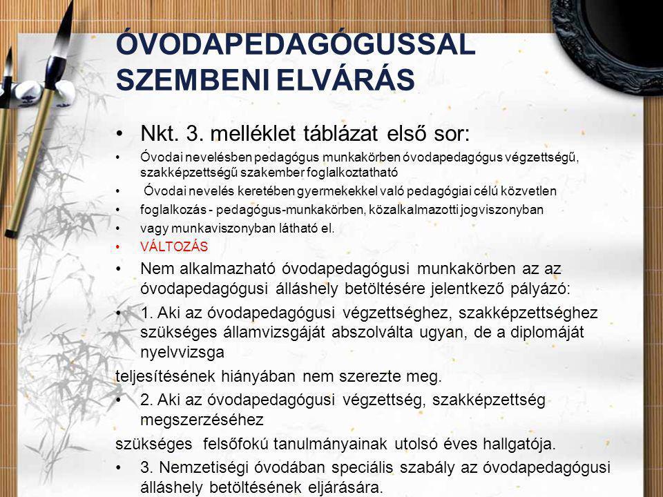 ÓVODAPEDAGÓGUSSAL SZEMBENI ELVÁRÁS •Nkt. 3. melléklet táblázat első sor: •Óvodai nevelésben pedagógus munkakörben óvodapedagógus végzettségű, szakképz