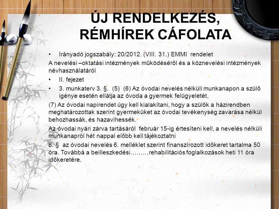 ÚJ RENDELKEZÉS, RÉMHÍREK CÁFOLATA •Irányadó jogszabály: 20/2012. (VIII. 31.) EMMI rendelet A nevelési –oktatási intézmények működéséről és a köznevelé