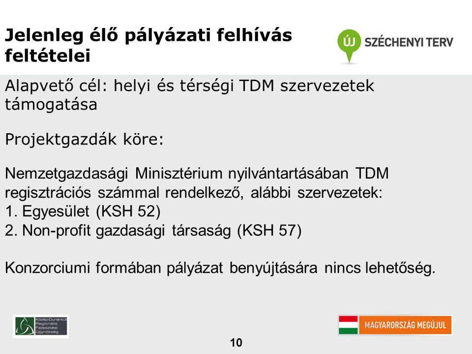 10 Jelenleg élő pályázati felhívás feltételei Alapvető cél: helyi és térségi TDM szervezetek támogatása Projektgazdák köre: Nemzetgazdasági Minisztérium nyilvántartásában TDM regisztrációs számmal rendelkező, alábbi szervezetek: 1.
