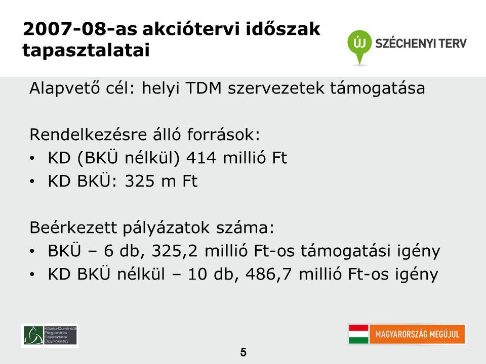 Alapvető cél: helyi TDM szervezetek támogatása Rendelkezésre álló források: • KD (BKÜ nélkül) 414 millió Ft • KD BKÜ: 325 m Ft Beérkezett pályázatok száma: • BKÜ – 6 db, 325,2 millió Ft-os támogatási igény • KD BKÜ nélkül – 10 db, 486,7 millió Ft-os igény 5 2007-08-as akciótervi időszak tapasztalatai