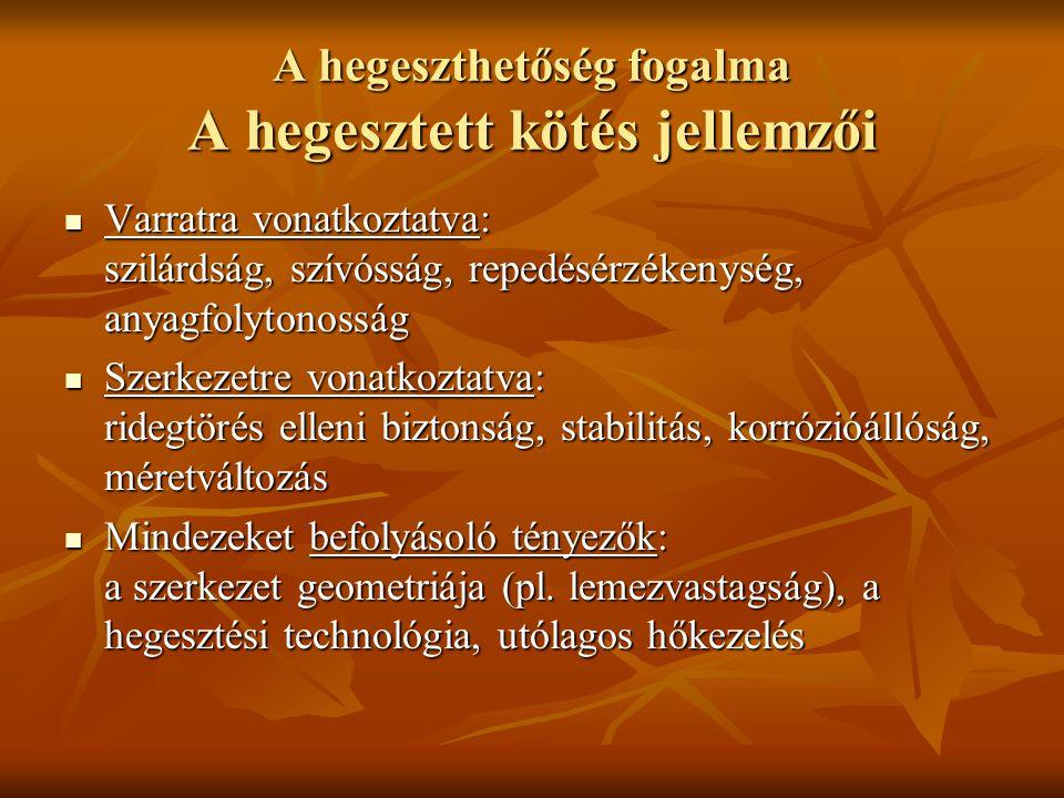 A hegeszthetőség fogalma A hegesztett kötés jellemzői  Varratra vonatkoztatva: szilárdság, szívósság, repedésérzékenység, anyagfolytonosság  Szerkezetre vonatkoztatva: ridegtörés elleni biztonság, stabilitás, korrózióállóság, méretváltozás  Mindezeket befolyásoló tényezők: a szerkezet geometriája (pl.