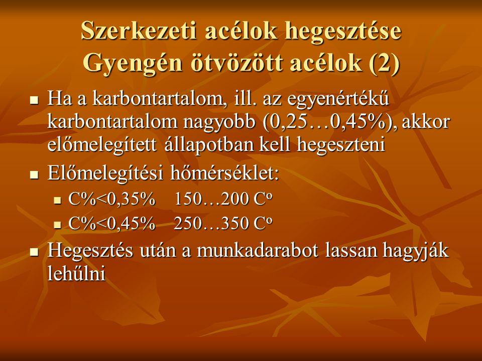 Szerkezeti acélok hegesztése Gyengén ötvözött acélok (2)  Ha a karbontartalom, ill.
