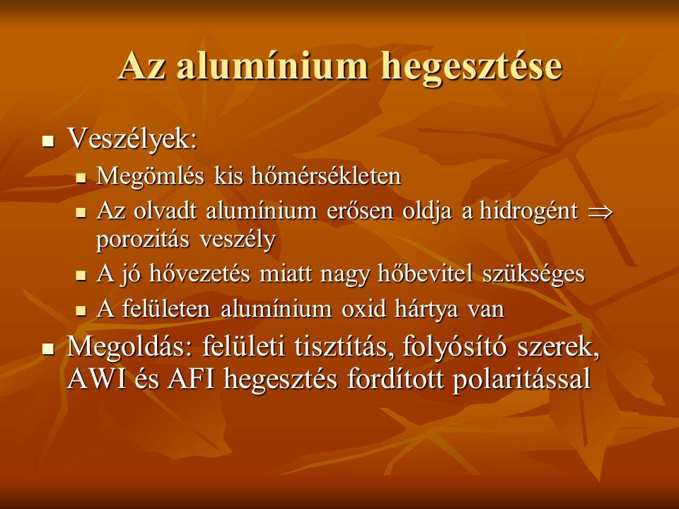 Az alumínium hegesztése  Veszélyek:  Megömlés kis hőmérsékleten  Az olvadt alumínium erősen oldja a hidrogént  porozitás veszély  A jó hővezetés miatt nagy hőbevitel szükséges  A felületen alumínium oxid hártya van  Megoldás: felületi tisztítás, folyósító szerek, AWI és AFI hegesztés fordított polaritással
