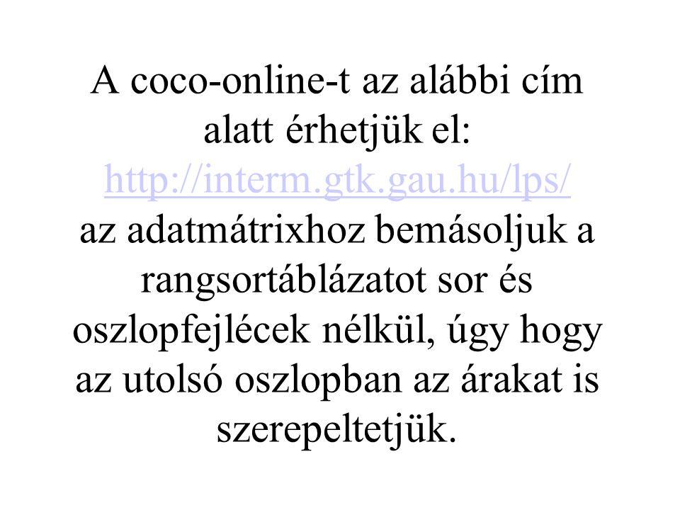 A coco-online-t az alábbi cím alatt érhetjük el: http://interm.gtk.gau.hu/lps/ az adatmátrixhoz bemásoljuk a rangsortáblázatot sor és oszlopfejlécek n