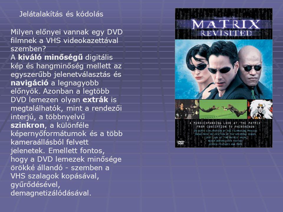 Jelátalakítás és kódolás Milyen előnyei vannak egy DVD filmnek a VHS videokazettával szemben? A kiváló minőségű digitális kép és hangminőség mellett a