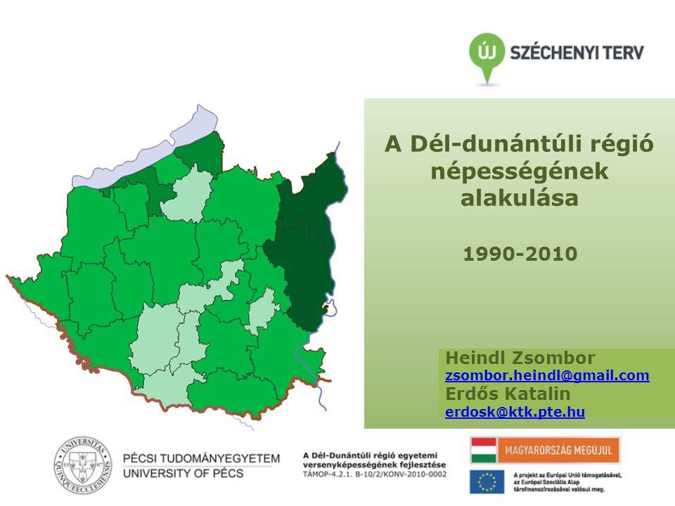 1990-2000 Kistérségi népesség változása • Siófoki, Kadarkúti és Szentlőrinci kistérség növekedést mutatott • Szigetvári kistérségben enyhe csökkenés 2000-2010 • Siófoki és Pécsi kistérség növekedést mutatott • Enyhe csökkenés: Balatonföldvári, Kadarkúti, Kaposvári és Paksi kistérség < -10 % -10 és -5 % között -5 és -2 % között -2 és 0 % között > 0 % 1990-2010 • Tabi kistérség az abszolút vesztes; -17,64% • 10%-nál nagyobb csökkenés: Komlói, Sásdi, Sellyei, Barcsi, Csurgói, Marcali, Nagyatádi, Bonyhádi és Tamási kistérségek Forrás: KSH alapján Heindl Zsombor szerkesztése