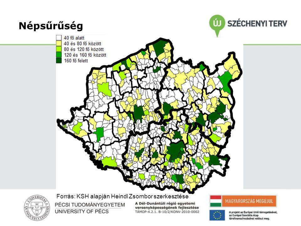 Népsűrűség Forrás: KSH alapján Heindl Zsombor szerkesztése