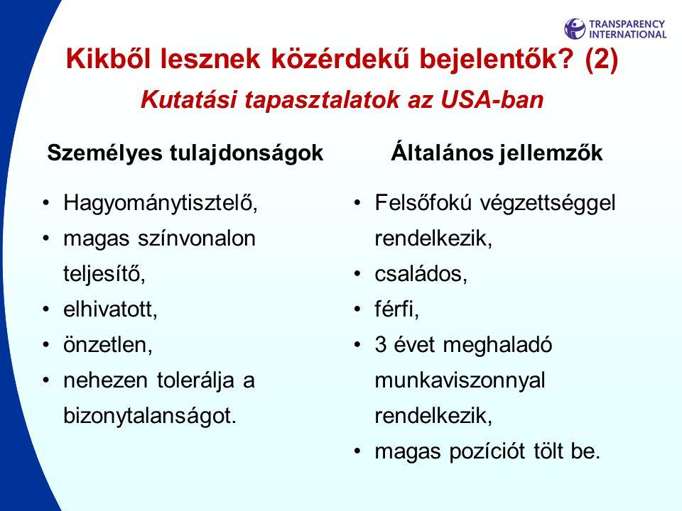 Kikből lesznek közérdekű bejelentők? (2) Kutatási tapasztalatok az USA-ban Személyes tulajdonságok •Hagyománytisztelő, •magas színvonalon teljesítő, •