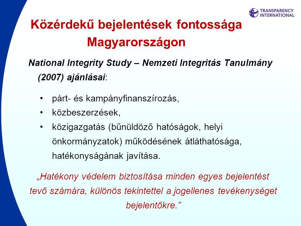 Közérdekű bejelentések fontossága Magyarországon National Integrity Study – Nemzeti Integritás Tanulmány (2007) ajánlásai: •párt- és kampányfinanszíro