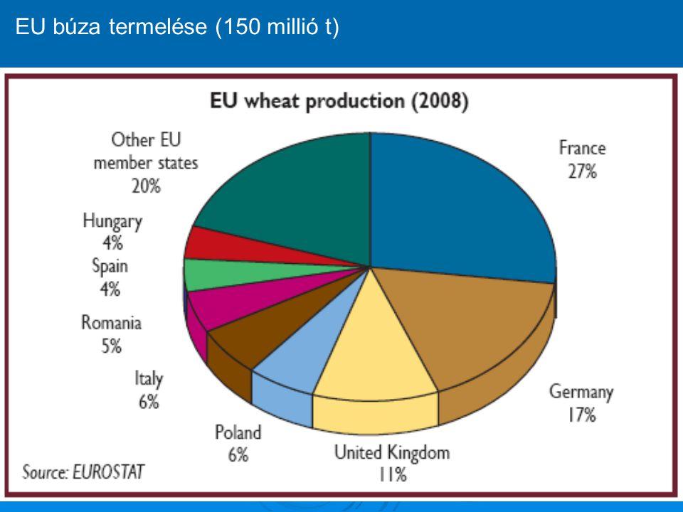 EU búza termelése (150 millió t)