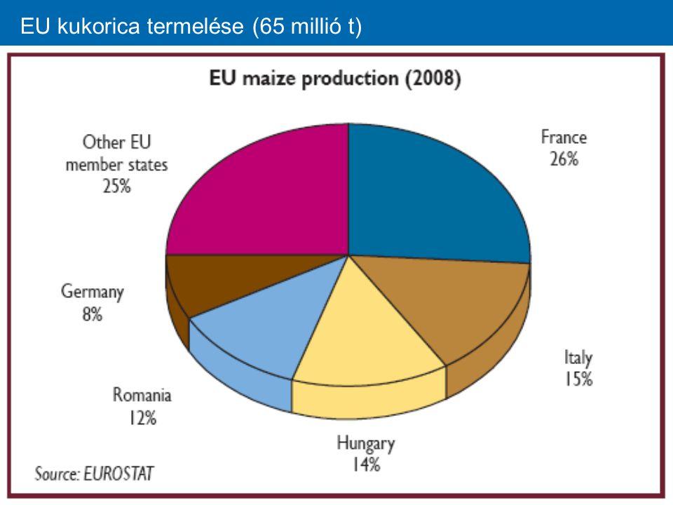 EU kukorica termelése (65 millió t)