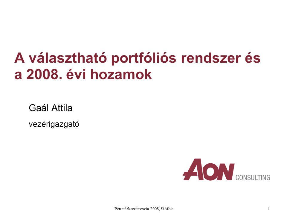 Pénztárkonferencia 2008, Siófok 1 A választható portfóliós rendszer és a 2008.