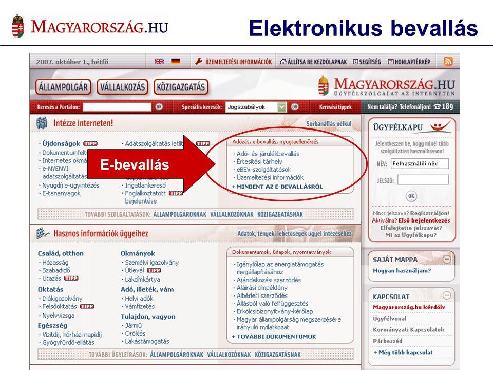Elektronikus bevallás E-bevallás