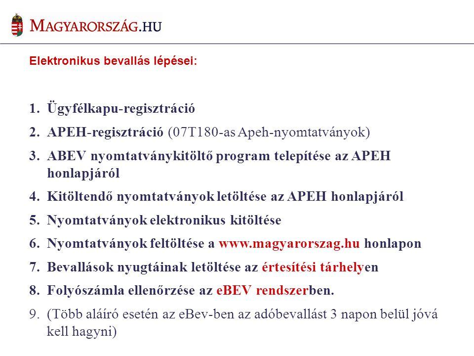 Elektronikus bevallás lépései: 1.Ügyfélkapu-regisztráció 2.APEH-regisztráció (07T180-as Apeh-nyomtatványok) 3.ABEV nyomtatványkitöltő program telepítése az APEH honlapjáról 4.Kitöltendő nyomtatványok letöltése az APEH honlapjáról 5.Nyomtatványok elektronikus kitöltése 6.Nyomtatványok feltöltése a www.magyarorszag.hu honlapon 7.Bevallások nyugtáinak letöltése az értesítési tárhelyen 8.Folyószámla ellenőrzése az eBEV rendszerben.