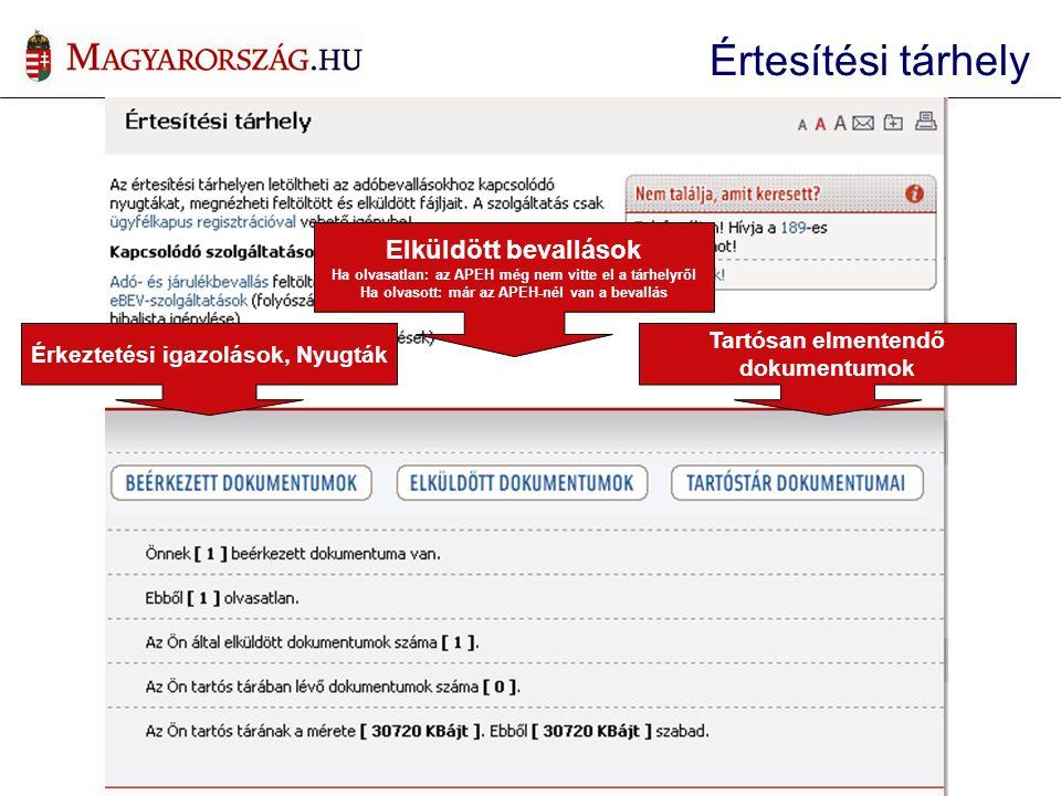 Érkeztetési igazolások, Nyugták Elküldött bevallások Ha olvasatlan: az APEH még nem vitte el a tárhelyről Ha olvasott: már az APEH-nél van a bevallás Tartósan elmentendő dokumentumok Értesítési tárhely