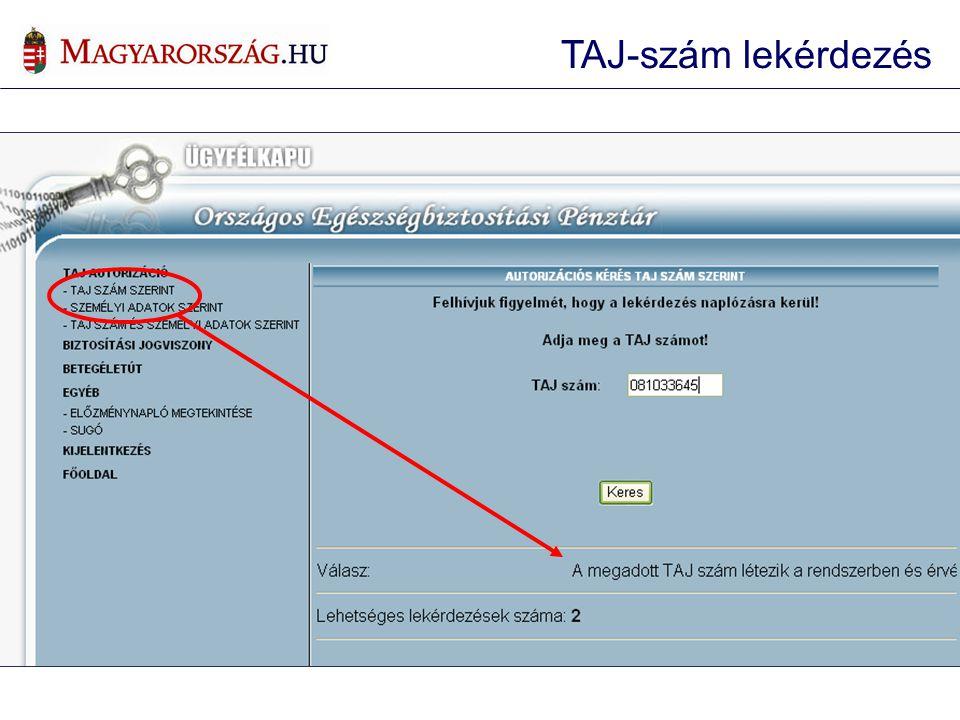 TAJ szám szerinti lekérdezés TAJ-szám lekérdezés