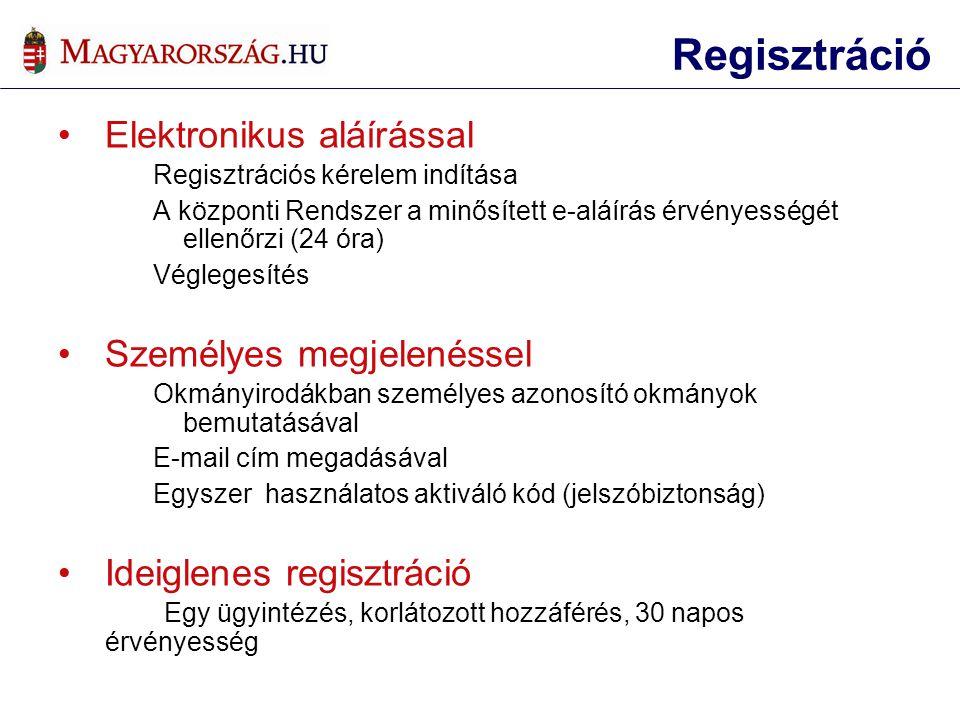•Elektronikus aláírással Regisztrációs kérelem indítása A központi Rendszer a minősített e-aláírás érvényességét ellenőrzi (24 óra) Véglegesítés •Személyes megjelenéssel Okmányirodákban személyes azonosító okmányok bemutatásával E-mail cím megadásával Egyszer használatos aktiváló kód (jelszóbiztonság) •Ideiglenes regisztráció Egy ügyintézés, korlátozott hozzáférés, 30 napos érvényesség Regisztráció